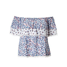 Buy Miss Selfridge Petite Floral Bardot Top, Nude Online at johnlewis.com