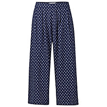 Buy Fat Face Wide Crop Batik Geo Trousers, Navy Online at johnlewis.com