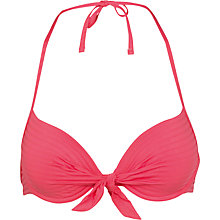 Buy Fat Face Varigated Stripe Plunge Bikini Top, Watermelon Online at johnlewis.com