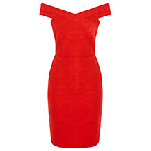 Buy Oasis Bonded Lace Pencil Dress, Mid Red Online at johnlewis.com