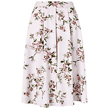 Buy Miss Selfridge Floral Print Midi Skirt, Nude Online at johnlewis.com