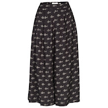 Buy Fat Face Wide Crop Fish Print Trousers, Phantom Online at johnlewis.com
