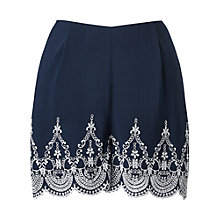 Buy Miss Selfridge Petite Embroidered Shorts, Navy Online at johnlewis.com
