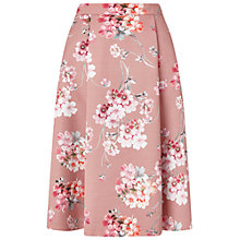 Buy Miss Selfridge Floral Print Midi Skirt, Blush Online at johnlewis.com