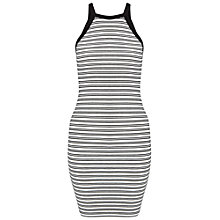 Buy Miss Selfridge Petites Stripe Bodycon Dress, White Online at johnlewis.com