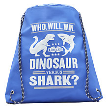 Buy Little Joule Dinosaur vs Shark Drawstring Bag Online at johnlewis.com