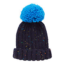 Buy John Lewis Children's Chunky Flecked Knit Beanie Hat, Navy Online at johnlewis.com
