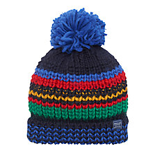 Buy Little Joule Children's Bobbie Stripe Bobble Hat, Multi Online at johnlewis.com