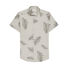 Buy Reiss Feather Print Short Sleeve Shirt, Khaki Online at johnlewis.com