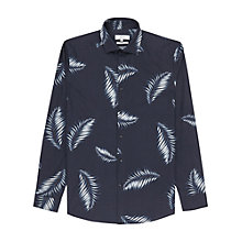 Buy Reiss Island Palm Print Slim Fit Shirt, Blue Online at johnlewis.com