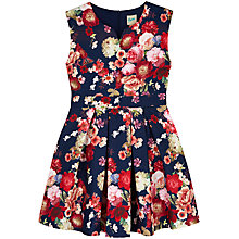 Buy Yumi Girl Floral Jacquard Dress, Navy Online at johnlewis.com