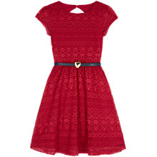 Buy Yumi Girl Lace Dress with Heart Belt, Plum Online at johnlewis.com