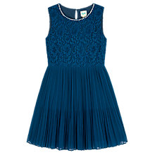 Buy Yumi Girl Pearl Pleated Dress, Blue Online at johnlewis.com
