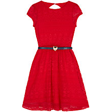 Buy Yumi Girl Belted Lace Dress, Red Online at johnlewis.com