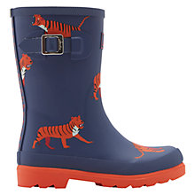 Buy Little Joule Boy's Tiger Print Buckle Wellington Boots, Navy Online at johnlewis.com