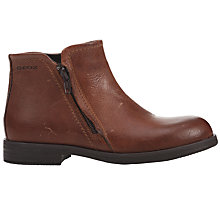 Buy Geox Children's Agata Leather Zip Boots, Tan Online at johnlewis.com