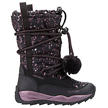 Buy Geox Children's Orizont ABX Pom Pom Lace Boots, Black/Pink Online at johnlewis.com