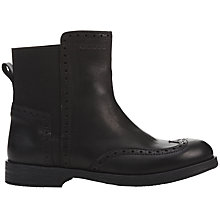 Buy Geox Children's Decorative Perforations Agata Leather Boots, Black Online at johnlewis.com