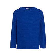 Buy John Lewis Boys' Cotton Twist Rib Jumper, Blue Online at johnlewis.com