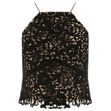 Buy Warehouse Lace Halter Top, Black Online at johnlewis.com