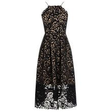 Buy Warehouse Lace Halter Dress, Black Online at johnlewis.com
