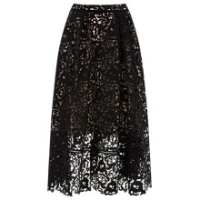 Buy Warehouse Flared Lace Skirt, Black Online at johnlewis.com