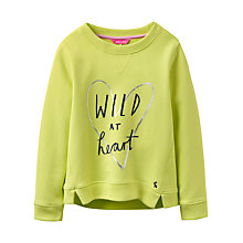 Buy Little Joule Girls' Wild At Heart Sweatshirt, Lime Online at johnlewis.com