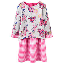 Buy Little Joule Girls' Floral Print Dress, Grey/Pink Online at johnlewis.com