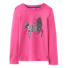 Buy Joules Girls' Glitter Horse T-Shirt, True Pink Online at johnlewis.com