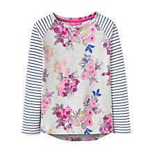 Buy Little Joule Girls' Hotchpotch Floral Top, Grey Online at johnlewis.com