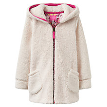 Buy Joules Girls' Fleece Zip Through Jacket, Creme Online at johnlewis.com