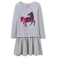 Buy Little Joule Girls' Drop Waist Sequin Horse Dress, White/Blue Online at johnlewis.com