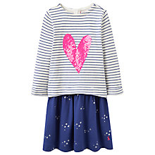 Buy Joules Girls' Sequin Heart Stripe Dress, Navy Online at johnlewis.com