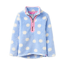 Buy Little Joule Girls' Merridie Spot Fluffy Fleece, Blue Sky Online at johnlewis.com
