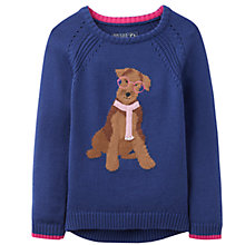 Buy Little Joule Chrissie Dog Intarsia Jumper, Navy Online at johnlewis.com