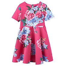 Buy Little Joule Girls' Floral Woven Dress, Pink Online at johnlewis.com