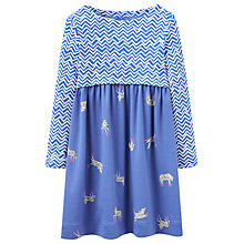 Buy Little Joule Girls' Zig Zag Zebra Dress, Blue Online at johnlewis.com