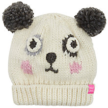 Buy Little Joule Children's Panda Knitted Hat, Cream Online at johnlewis.com