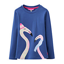 Buy Little Joule Girls' Flamingo T-Shirt, Blue Online at johnlewis.com