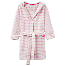 Buy Little Joule Children's Teddy Striped Dressing Gown, Cream/Pink Online at johnlewis.com