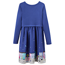 Buy Little Joule Girls Jersey Woven Scene Dress, Navy Online at johnlewis.com