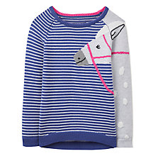 Buy Little Joule Girls' Geegee Horse Intarsia Knit Jumper, Navy/Multi Online at johnlewis.com