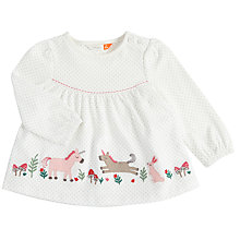 Buy John Lewis Baby Appliqué Unicorn Blouse, Cream Online at johnlewis.com