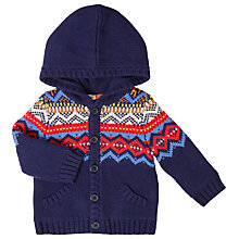 Buy John Lewis Baby Fair Isle Lined Hoodie, Navy Online at johnlewis.com
