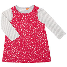 Buy John Lewis Baby Floral Printed Pinafore Dress and T-Shirt Set, Red/Multi Online at johnlewis.com