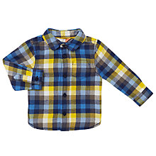 Buy John Lewis Baby Check Twill Shirt, Blue/Yellow Online at johnlewis.com