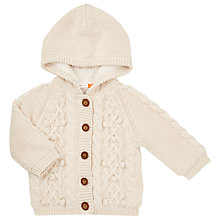Buy John Lewis Baby Cable Knit Hooded Cardigan, Cream Online at johnlewis.com