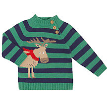 Buy John Lewis Baby Stripe Moose Jumper, Green/Navy Online at johnlewis.com