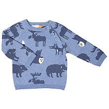 Buy John Lewis Baby Intarsia Animal Jumper, Navy Online at johnlewis.com