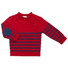 Buy John Lewis Baby Stripe Knit Jumper, Red/Navy Online at johnlewis.com